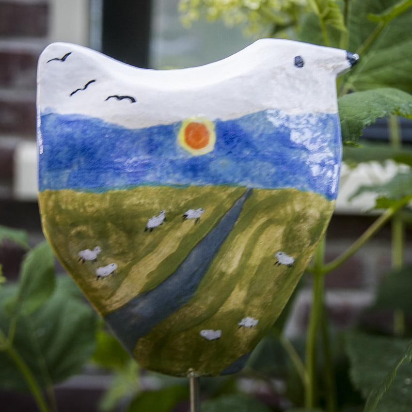 vogel keramiek handdecoratie glazuur 13x14 cm op pin gerdiennoordeloos.nl